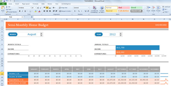 Bi weekly budget template for excel 2003