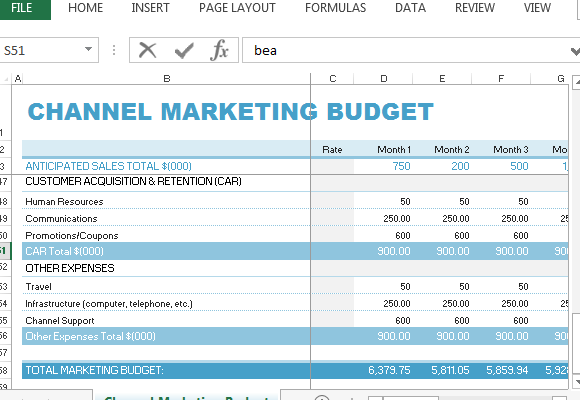 Channel Marketing Budget-Vorlage für Excel