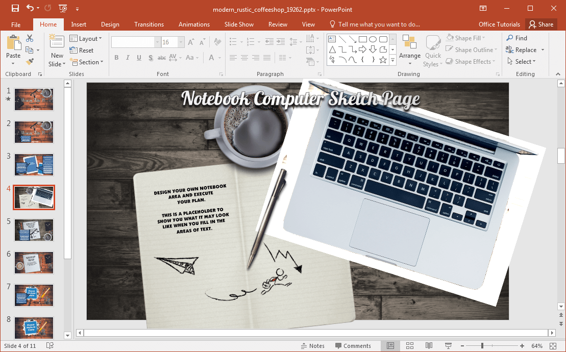 Animated Moderne Rustic Coffee Shop Powerpoint-Vorlage