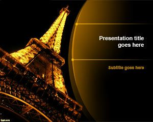 Night Eiffel Tower PowerPoint Template