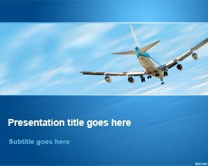 Avion Flying Away in Sky PowerPoint Template