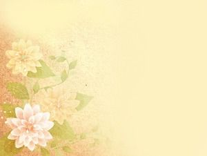 Yellow ancient painting style flower ppt background