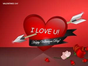 Pure ppt draw an arrow through the heart animation for valentines day greeting card ppt template for lovers