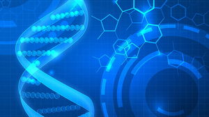Blue flat DNA life science PPT background picture