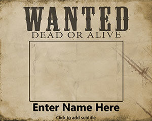 Bezpłatne Wanted Dead or Alive PowerPoint Template