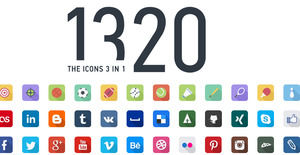 1320 color flat long shadow ICON icon collection