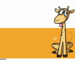 Template Giraffe Cartoon Powerpoint