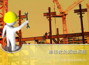 3D hands holding wrench construction industry construction PPT template