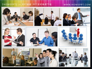 9 Business Training Meeting Scene Material Ilustrație Caracter Slide