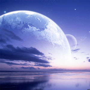 A group of beautiful purple sky planet PPT background picture (a)