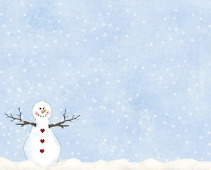 A group of snowflakes Pine Snowman Christmas PPT background picture