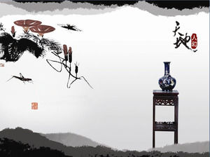 A set of Chinese ink painting background of the classical Chinese wind PPT background picture