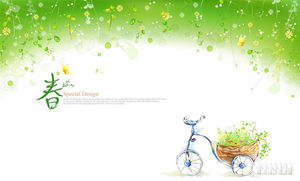 A set of green spring painted PPT background pictures