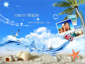 Beach tourism PPT template download