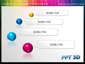 Beautiful dynamic color 3D ball background PPT directory template