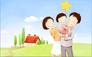 Beautiful mood cartoon PPT background picture