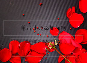 Beautiful rose petals black background ppt template