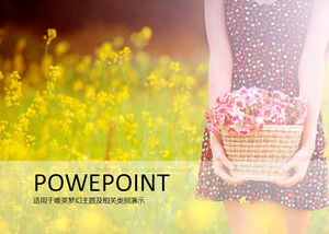 Beauty ppt template with rape flower natural