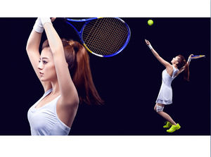 Beauty tennis player PPT background picture