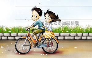 Bicycle on the romance - Valentines day ppt template