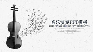 Black and white violin background music teaching PPT template