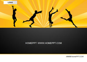 Black background sports PPT template download
