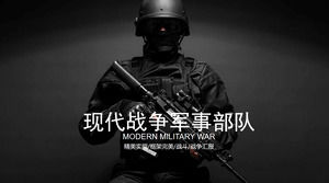 Black Exquisite Modern War Military Force PPT Template Free Download