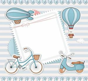 Blue cartoon border PPT background image