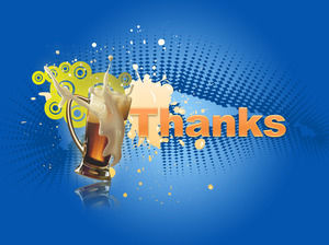 Blue Glass Background Thank you PPT background template