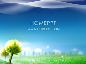 Blue sky green grass plant PPT template download