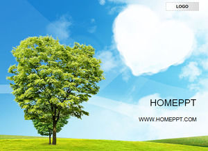 Blue Sky White Cloud Green Tree Natural Style PPT Template