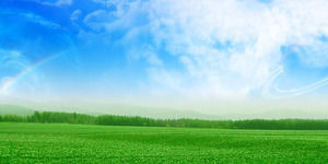 Blue sky white clouds green grass PPT background picture