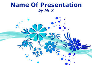 PowerPoint modelo azul Blooming Flores
