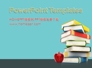 Book textbook apple background education PPT template