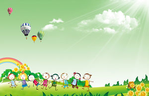 Cartoon character children's day PPT background picture