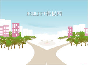 Cartoon city background PPT template download