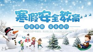 Cartoon style student winter holiday security theme class education courseware PPT template