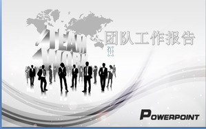 Character silhouette background business team slide template download