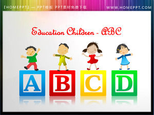 Children's English alphabet ABC background PPT little illustration material