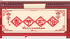Chinese style Spring Festival cultural customs PPT template