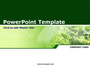 Classic green plant PPT template download