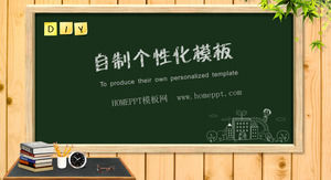 Classroom blackboard and chalked background education to learn PPT template