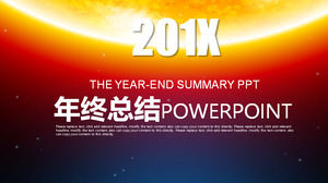 Cool stellar background of the year-end summary PPT template, work summary PPT download