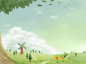 Country windmill cartoon slideshow background image download