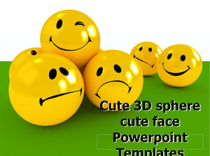 Cute 3D sphere cute face Powerpoint Templates