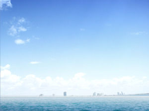 Elegant Blue Ocean Sea Level PowerPoint Background Image Download