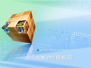 Elegant cube background technology PPT template download