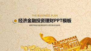 Financial investment financial PPT template with gold abacus background