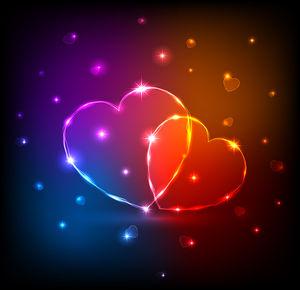 Flashing multicolored heart-shaped slideshow background image