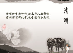 Fresh Chinese Wind Ching Ming Festival PPT template download